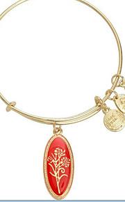 damemode rød blomst mønster sølv armbånd