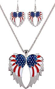 mode daglige afslappet personlighed party smykker sæt legeret englevinger halskæde øreringe til kvinder assorterede farver
