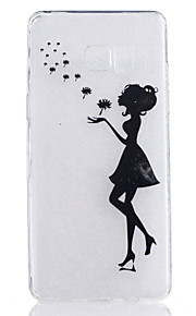 TPU Material Black Girl Pattern Painted Relief Phone Case for Samsung Galaxy Note 7