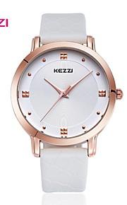 Heren / Dames Modieus horloge Japanse quartz Waterbestendig Leer Band Vrijetijdsschoenen Zwart / Wit / Bruin Merk