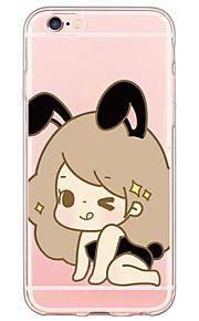 tecknad söt flicka mönster TPU ultratunna genomskinligt mjukt bakstycket för den apple iphonen 6s 6 plus se / 5s / 5
