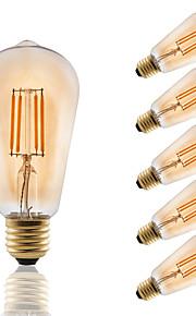 E27 LED Filament Bulbs ST58 COB 330 lm Amber Decorative AC 220-240 V 6 pcs Edison Style Bulb