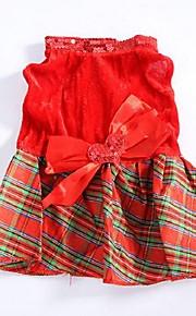 Cães Vestidos Vermelho Inverno / Verão / Primavera/Outono Clássico / Xadrez / Natal Casamento / Natal / S. Valentim / Da Moda, Dog