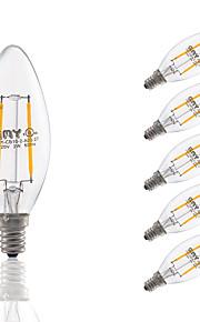 2 E12 LED лампы накаливания B 2 COB 200 lm Тёплый белый Регулируемая / Декоративная AC 110-130 V 6 шт.