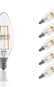 2W E12 LED Filament Bulbs B10 COB 200 lm Warm White Dimmable / Decorative AC 110-130 V 6 pcs