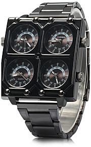 Heren Militair horloge Kwarts Drie tijdzones Roestvrij staal Band Cool Zwart Merk