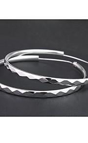 Øreringe / Circle Shape Store øreringe Smykker Dame Mode Afslappet Sølv 1 par Sølv Other