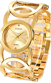 Damen Armband-Uhr Quartz / Edelstahl Band Armreif Silber / Gold Marke