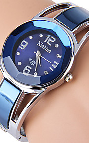 Mulheres Relógio de Moda Quartz / Aço Inoxidável Banda Bracelete Preta / Azul marca