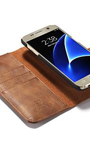 Per Samsung Galaxy S7 Edge Porta-carte di credito / Con chiusura magnetica Custodia Integrale Custodia Tinta unita Resistente Vera pelle