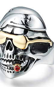 Men's Fashion 316L Titanium Steel Gold Plated Vintage Personality Skull Engraved Zircon Statement Rings Casual/Daily 1pc
