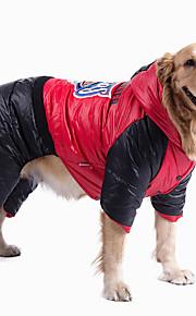 Cães Macacão Vermelho Roupas para Cães Inverno Geométrico / Color Block Da Moda / Mantenha Quente / Dia Das Bruxas / Natal