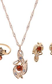 heldig dukke kvinders legering rhinestone steg forgyldt halskæde&øreringe&ring smykker sæt