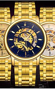 男性 機械式時計 自動巻き カレンダー / 耐水 / 光る ステンレス バンド カジュアルスーツ / 世界地図柄 ゴールド ブランド