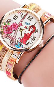 Mulheres Relógio de Moda / Bracele Relógio Quartz / PU Banda Legal / Casual Preta / Branco / Azul / Vermelho / Verde / Dourada / Rosa