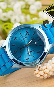Masculino / Mulheres / Unissex Relógio de Pulso Quartz / Silicone Banda Casual Branco / Azul / Marrom / Verde / Rose marca