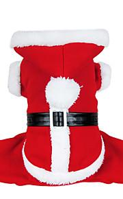 Hundar Kappor Röd Hundkläder Vinter Enfärgat Jul / Nyår