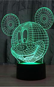Mikke Mus berøre dimming 3D LED nattlys 7colorful dekorasjon atmosfære lampe nyhet belysning jul lys
