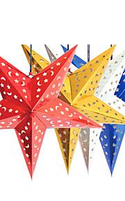 45cm jul laser papper stjärna jul hängande dekoration fällbara handgjorda 3d pentagram julgransdekorationer 4 färger