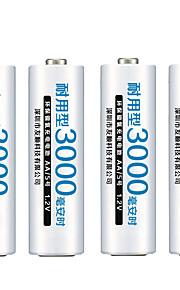 카메라 fulanka AA 충전지 AA의 니켈 수소 1.2의 3000mah 니켈 수소 (2A)의 사전 충전 bateria 충전식 배터리
