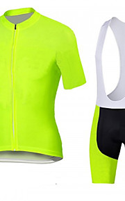 Fluo yellow Cycling Jersey with Bib Shorts Men's Short Sleeve Bike Breathable / Quick Dry / Anatomic Design / Front Zipper / 3D coolmax gel pad