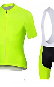 Deportes Maillot de Ciclismo con Shorts Bib Hombres Mangas cortas BicicletaTranspirable / Secado rápido / Diseño Anatómico / Cremallera