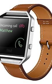 robusto involucro in metallo con la vigilanza di cuoio di lusso sostituzione cinghia della fascia da polso per Blaze Fitbit
