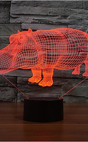 neshorn berøre dimming 3D LED nattlys 7colorful dekorasjon atmosfære lampe nyhet belysning jul lys