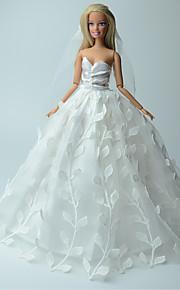 Casamento Vestidos Para Barbie Doll Branco Estampado / Cor Única Vestidos