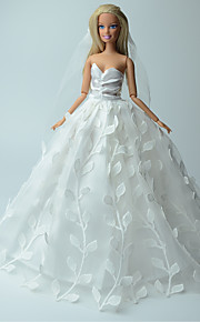 Wedding Dresses For Barbie Doll White Solid / Print Dresses