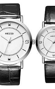 KEZZI Casal Relógio de Moda Relógio de Pulso Relógio Casual Quartzo / Couro Banda Legal Casual Preta Branco Prata Marrom Branco Preto Café
