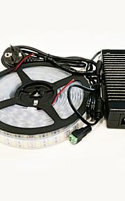 zdm vandtæt 5m 140W 600 * 5050 SMD 9600lm kold / varm hvid dobbelt kabinet LED lys bar configure 12v / 10a strømforsyning eu / au / US /