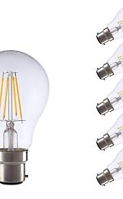 4W B22 LED-glødepærer A60(A19) 4 COB 400 lm Varm hvit Dekorativ V 6 stk.