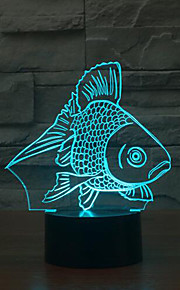 fisk berørings dimming 3D LED nattlys 7colorful dekorasjon atmosfære lampe nyhet belysning jul lys