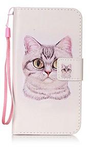 용 지갑 / 카드 홀더 / 스탠드 / 플립 / 패턴 케이스 풀 바디 케이스 고양이 하드 인조 가죽 용 HTC HTC Desire 626