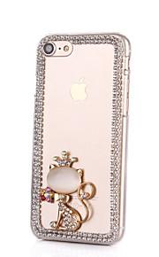 För Strass fodral Skal fodral Katt Hårt PC för AppleiPhone 7 Plus / iPhone 7 / iPhone 6s Plus/6 Plus / iPhone 6s/6 / iPhone SE/5s/5 /