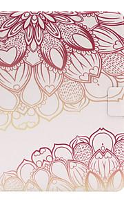 För med stativ / Lucka fodral Heltäckande fodral Blomma Mjukt PU-läder för Apple iPad Air 2 / iPad Air / iPad 4/3/2
