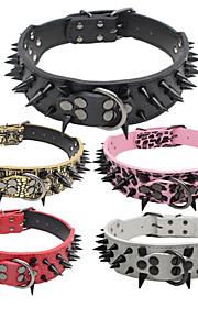 Köpekler Yakalar Ayarlanabilir/İçeri Çekilebilir / Çivili / Elyapımı / Günlük Tek Renk Kırmızı / Siyah / Beyaz / Pembe / Altın PU Deri