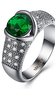 Ringe Kvadratisk Zirconium Daglig Afslappet Smykker Zirkonium Plastik Titanium Stål Dame Ring 1 Stk.,6 7 8 9 Grøn