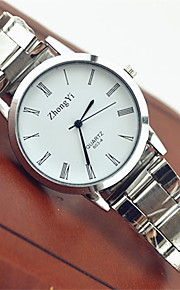 Casal Relógio de Moda Relógio de Pulso Relógio Casual Quartzo Aço Inoxidável Banda Casual Branco Branco Preto
