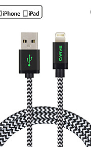 mfi 3m (10 pés) de cabo relâmpago trançado usb sincronização e cobrar para Apple iPhone 7 6s 6 plus se 5s 5c 5 plus / ipad air / mini-ipad