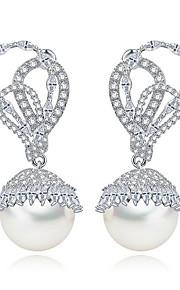 TEEMI Pearl AAA Zircon Earring Diamond Drop Ball Earrings Fine Jewelry Women Wedding / Party Zircon 1 pair White