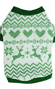 Dog Shirt / T-Shirt Green Dog Clothes Winter / Summer Reindeer Cute / Fashion / Christmas