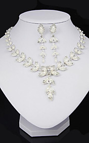 May polly  White rice leaves Pearl Necklace Earrings Set
