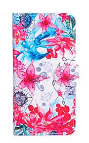 Für Geldbeutel / Kreditkartenfächer / mit Halterung / Flipbare Hülle Hülle Handyhülle für das ganze Handy Hülle Blume Hart PU - Leder für