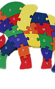 puslespil Puslespil Byggesten DIY legetøj Elefant 1 Træ Regnbue