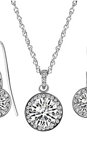 May polly  Europe and the shiny copper circle retro Zircon Necklace Earrings Set