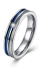 Ringe Kvadratisk Zirconium Fest Daglig Afslappet Smykker Rustfrit Stål Zirkonium Titanium Stål Dame Ring 1 Stk.,6 7 8 9 Sølv
