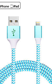 USB 2.0 Flätad Normal Kabel Till Apple iPhone iPad 120 cm Metall Nylon Aluminium