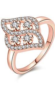 Ringe Kvadratisk Zirconium Daglig Afslappet Smykker Zirkonium Plastik Dame Ring 1 Stk.,7 8 Rose Guld Gul Guld